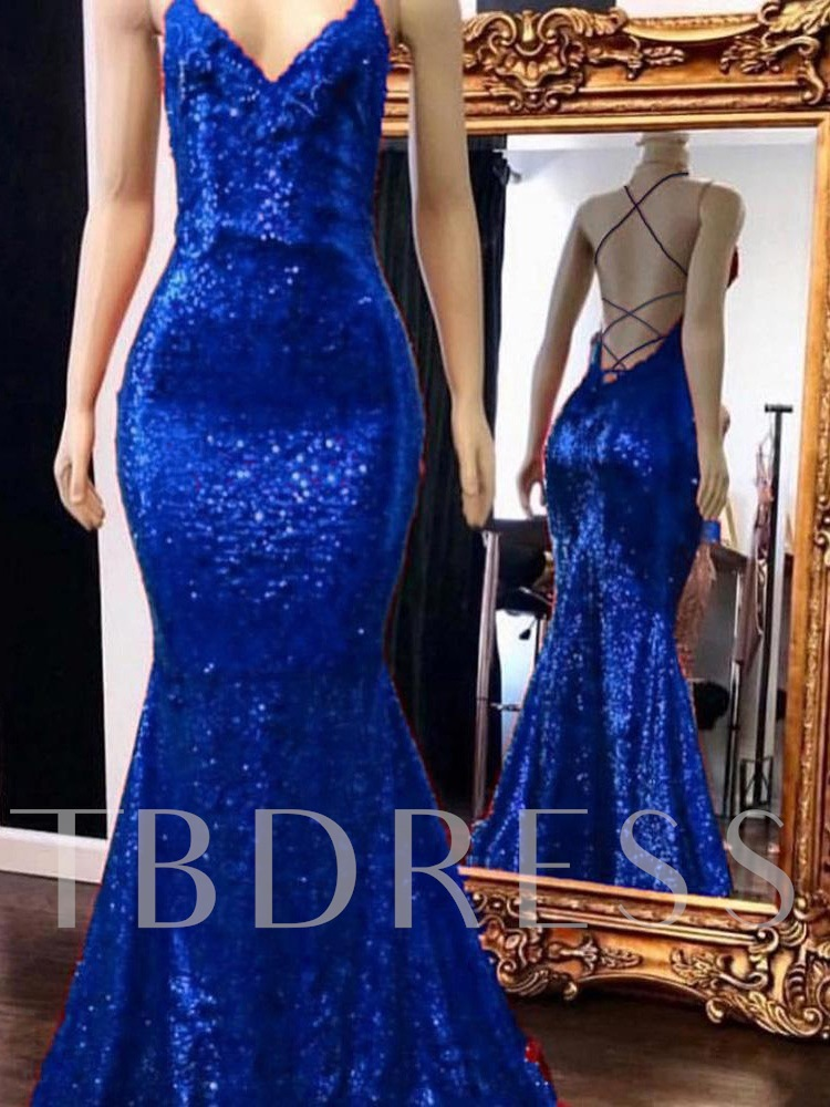 Sequins Trumpet Spaghetti Straps Sleeveless Evening Dress