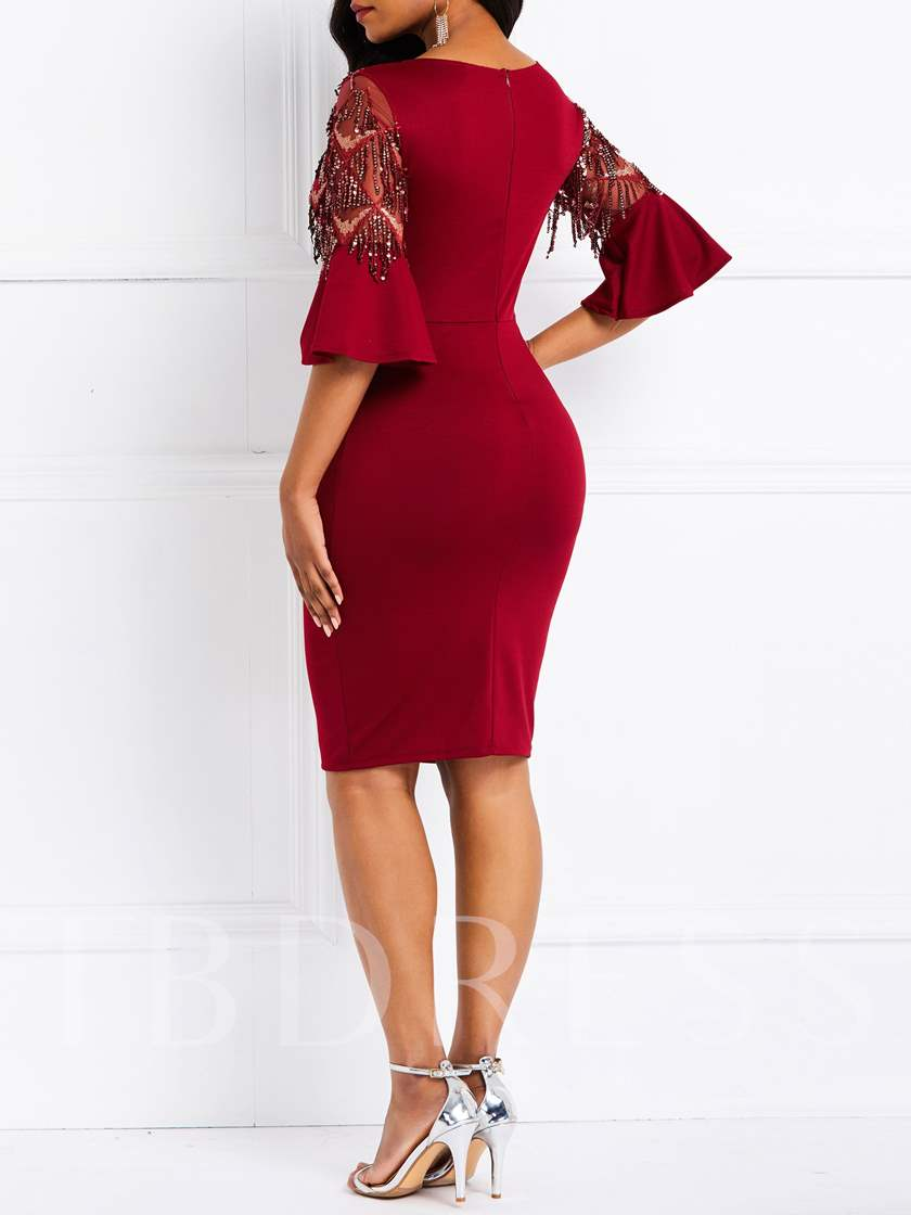 Round Neck Half Sleeve Sequins Women's Bodycon Dress