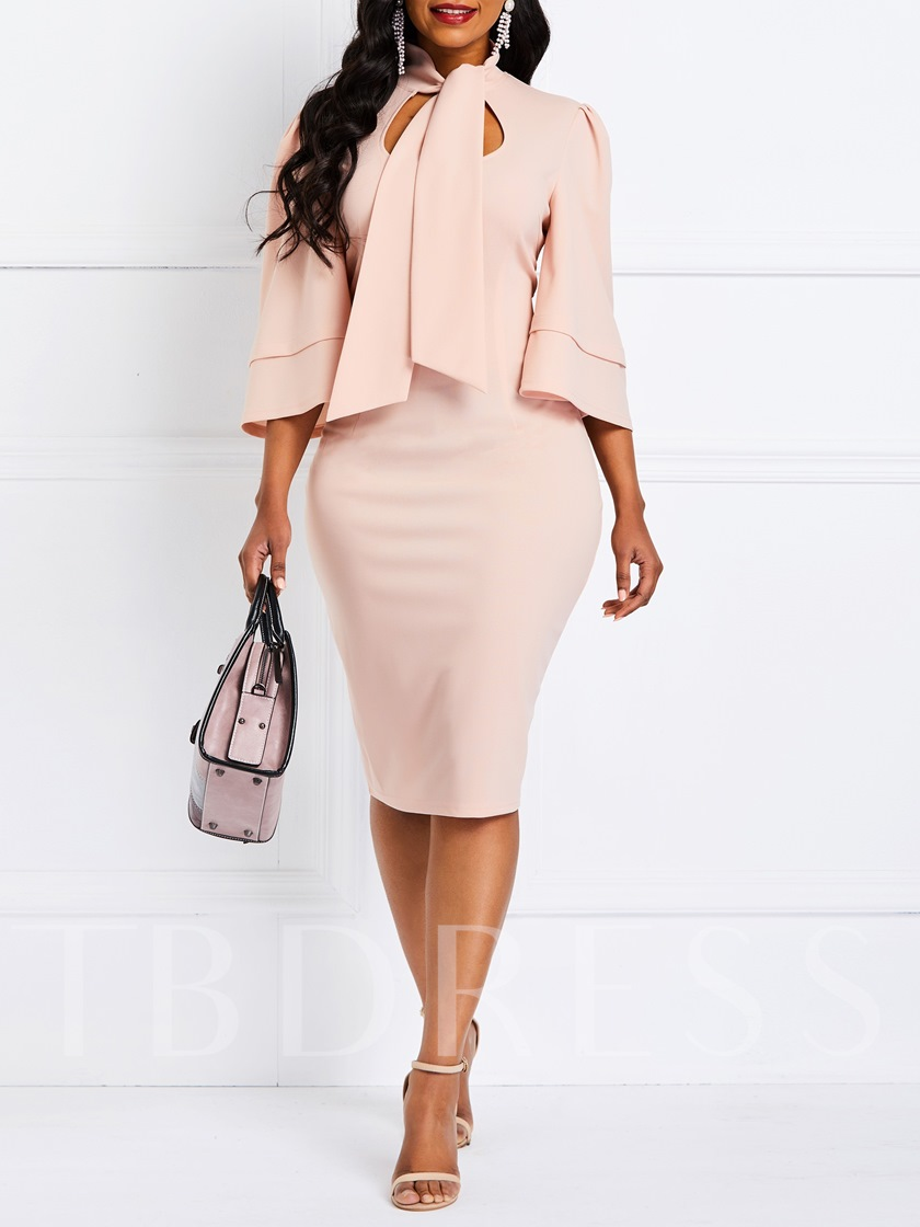 Three-Quarter Sleeve Plain Pullover Women's Sheath Dress