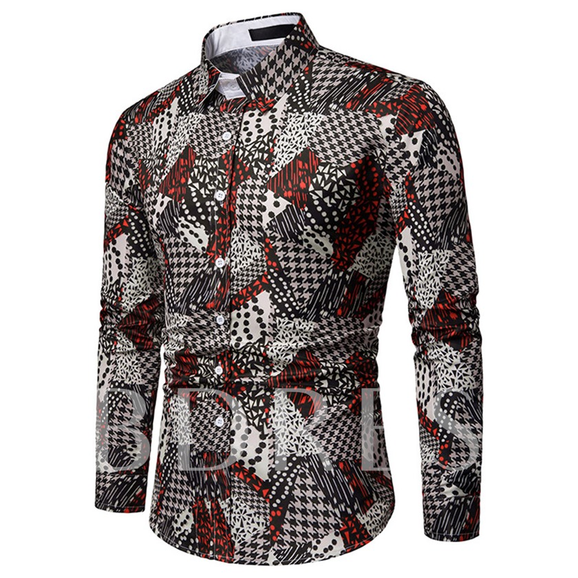 Casual Lapel Geometric Print Slim Men's Shirt