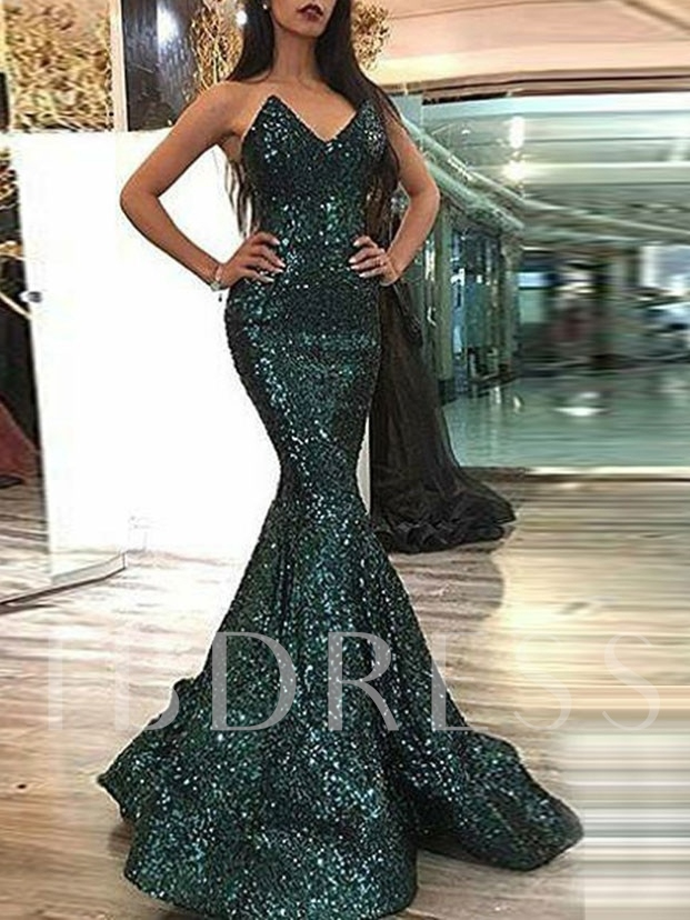 Trumpet Sleeveless Floor-Length Sequins Formal Dress