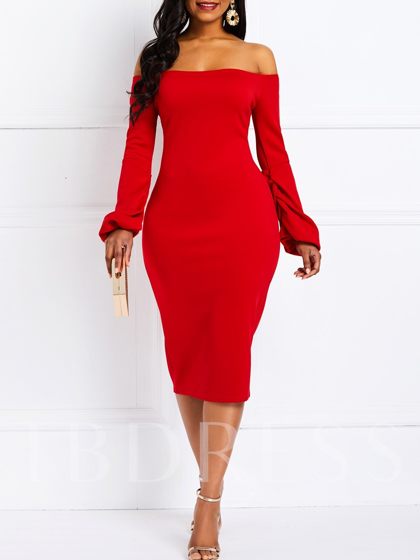Plain Long Sleeve Off Shoulder Women's Bodycon Dress