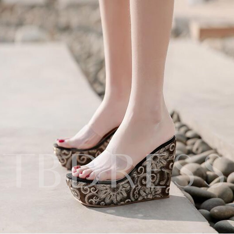 Slip-On Flip Flop Wedge Heel Platform Summer Women's Slippers