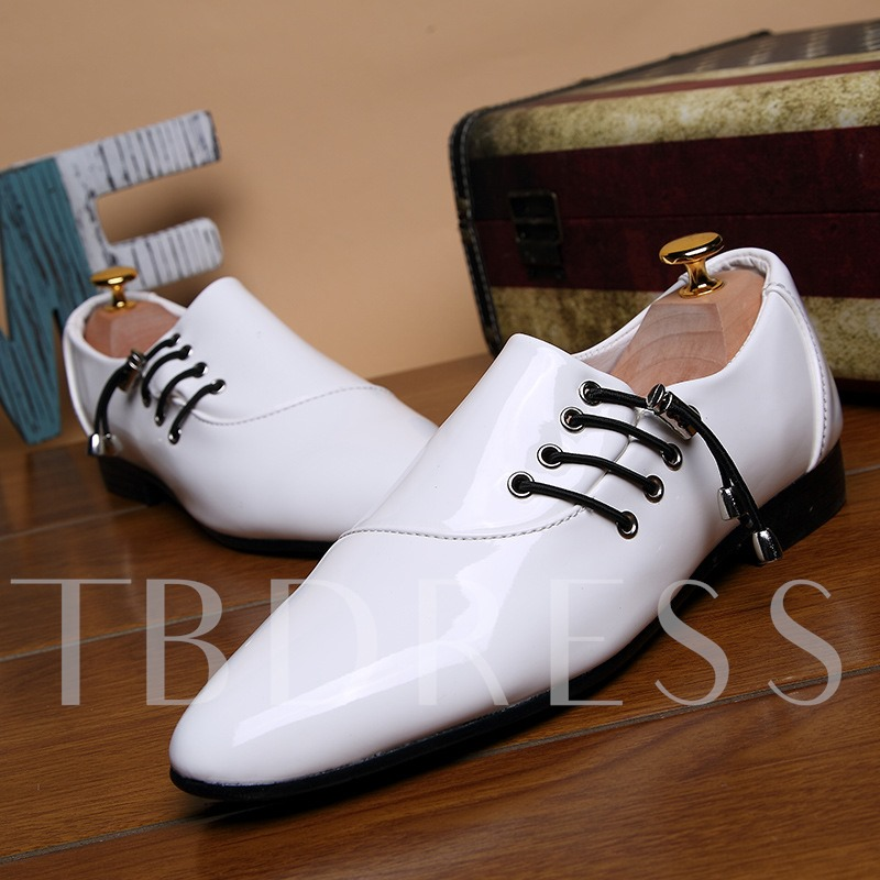 Lace-Up Low-Cut Upper Pointed Toe Exquisite Men's Prom Shoes