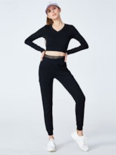 Workout Suit Cotton Anti-Sweat Patchwork Long Sleeve Running Set for Women