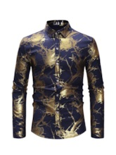 Lapel Floral Casual Print Slim Men's Shirt