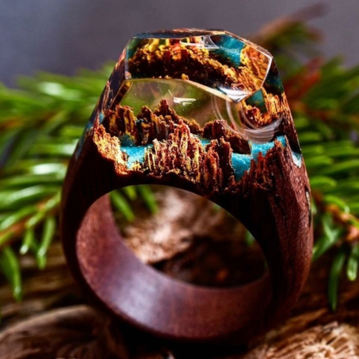 Colored Secret Forest Design Handmade Resin Wooden Ring