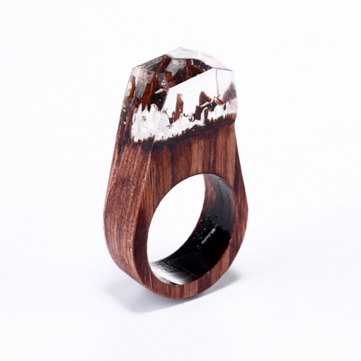 Secret Forest Design Resin Wooden Ring