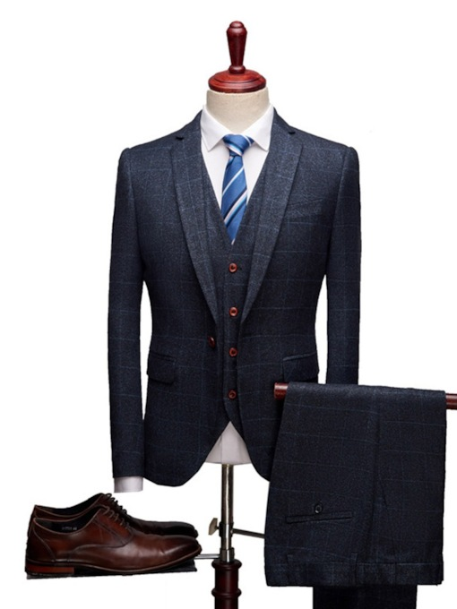Plaid Formal Vest One Button Men's Dress Suit