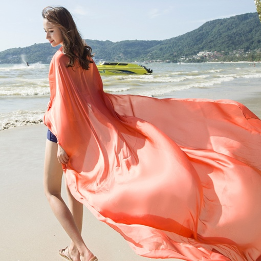 Living Coral Chiffon Plain Color Beach Scarf