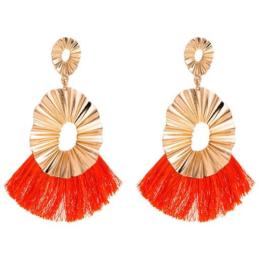 Living Coral Color Exaggerated Style Metal Earrings