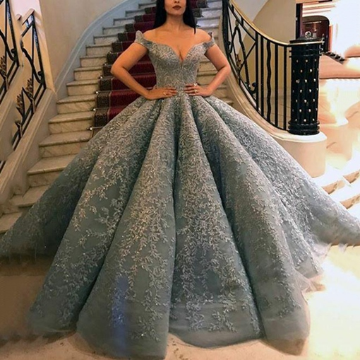 Appliques Ball Gown Off-The-Shoulder Sleeveless Quinceanera Dress