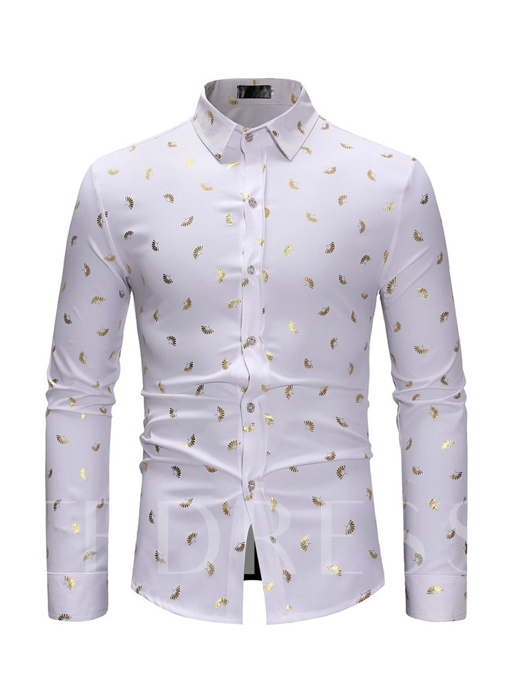 Print Lapel Casual Single-Breasted Slim Men's Shirt