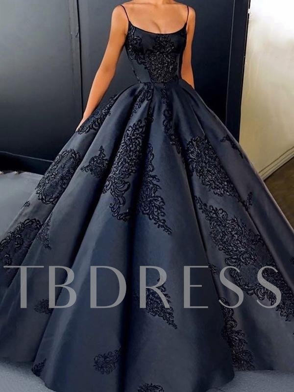 Sleeveless Ball Gown Floor-Length Spaghetti Straps Evening Dress