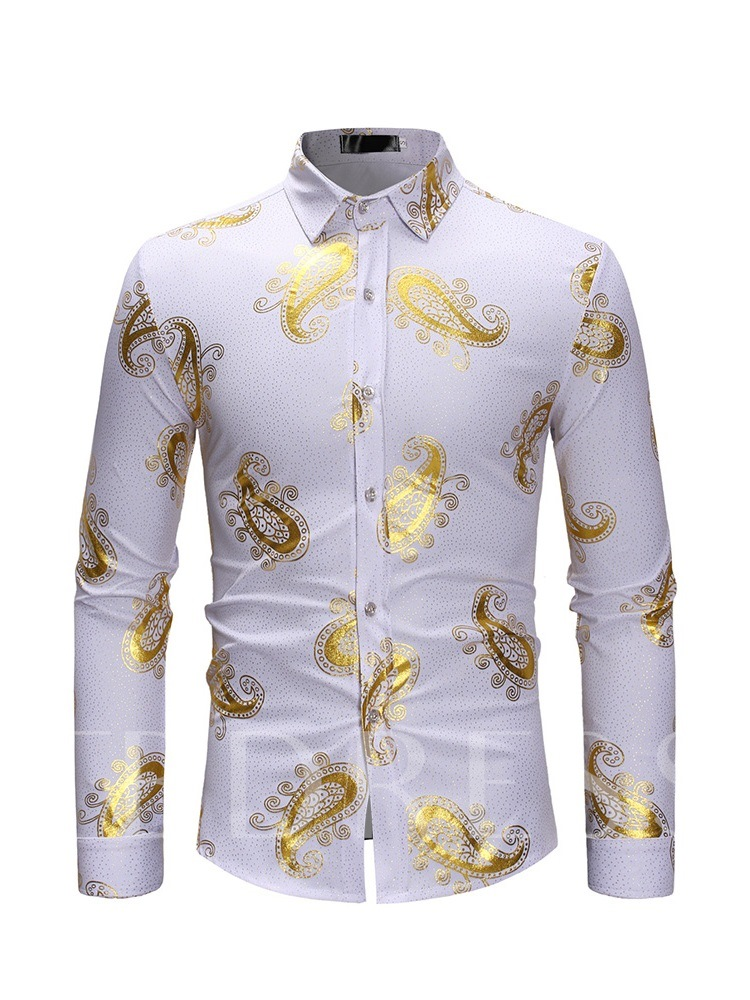 Lapel Slim Casual Print Men's Shirt