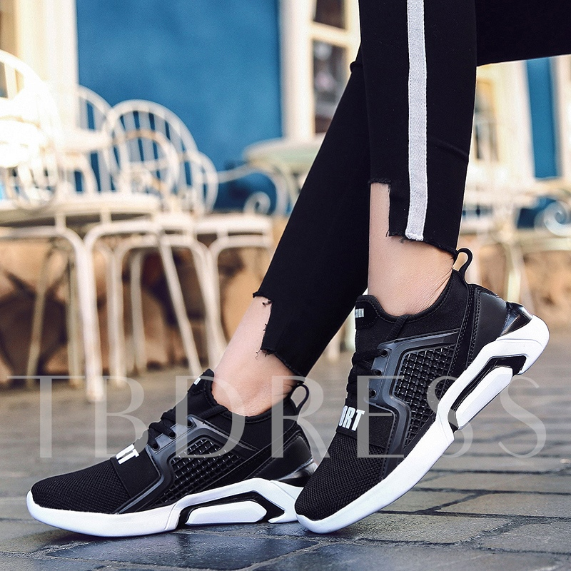 Lace-Up Platform Round Toe Color Block Women's Sneakers