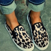 Slip-On Round Toe Leopard Printed Women's Flats