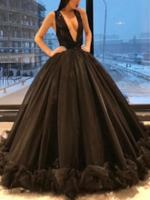 Deep V-Neck Sequins Ball Gown Formal Dress
