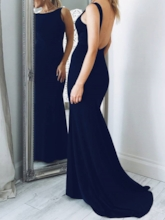 Floor-Length Bateau Sheath Sleeveless Evening Dress