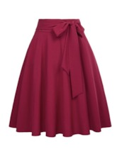 Patchwork Knee-Length Plain A-Line Women's Skirt