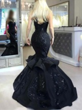 Sequins Appliques Black Mermaid Evening Dress Black Wedding Dress