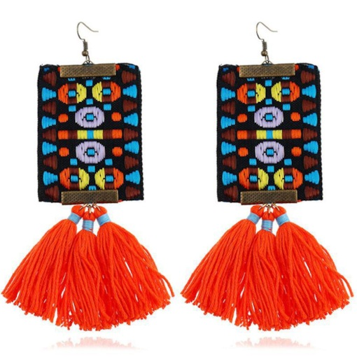 Color Block Living Coral Color Tassel Bohemian Earrings