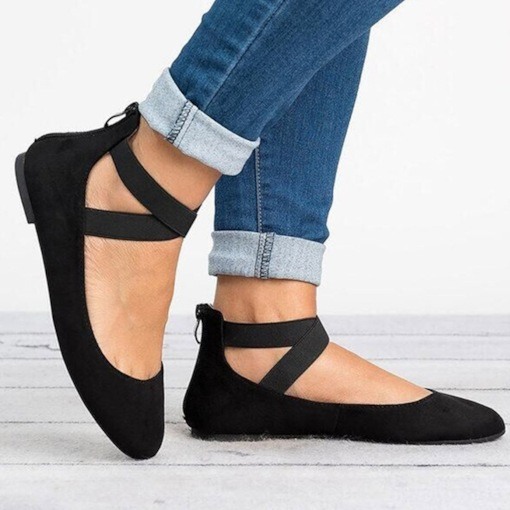 Block Heel Zipper Round Toe Women's Flats