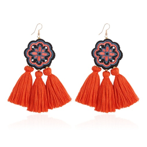 Sun Flower Shape Cloth Tassel Living Coral Color Earrings