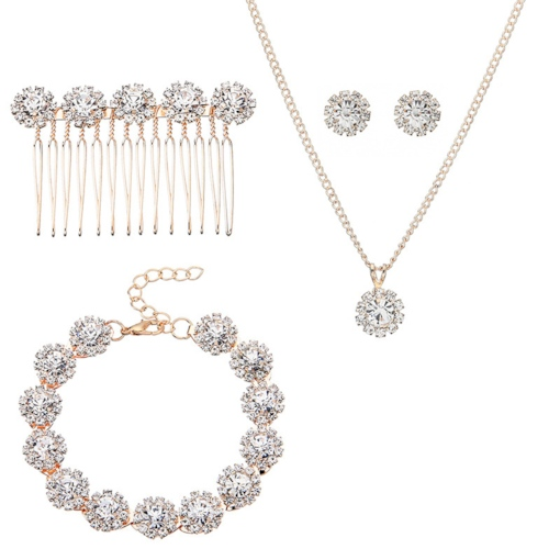Concise Round Diamante 4 Pcs Necklace Jewelry Sets