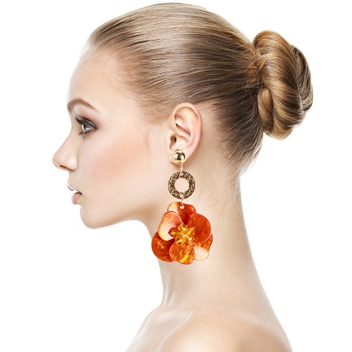 Living Coral Color Bohemian Floral Shape Prom Earrings