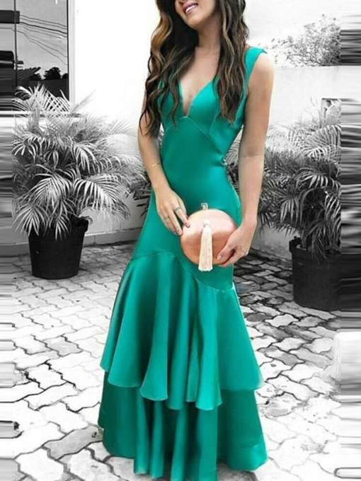 Trumpet Sleeveless V-Neck Floor-Length Evening Dress