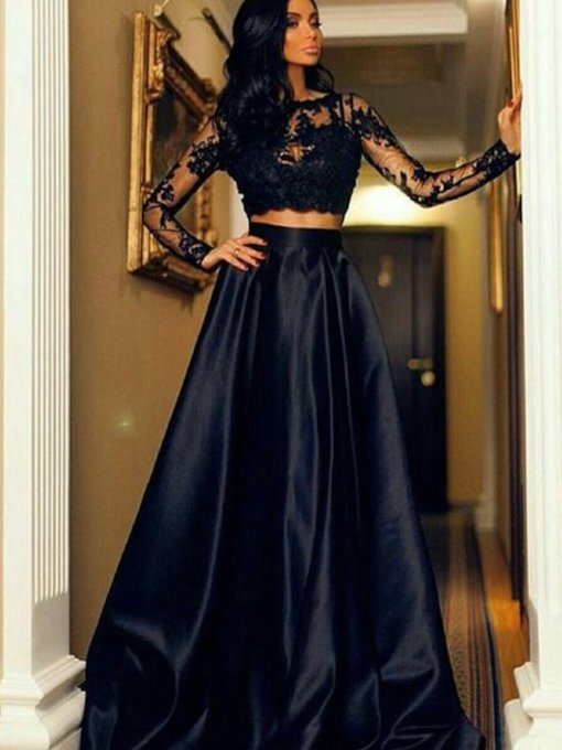 Floor-Length Scoop Long Sleeves A-Line Evening Dress