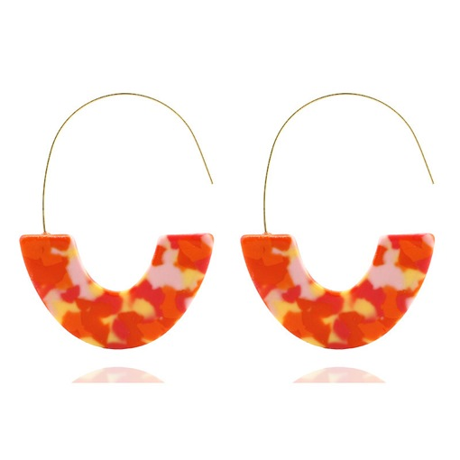 U Shape Living Coral Color Party Earrings