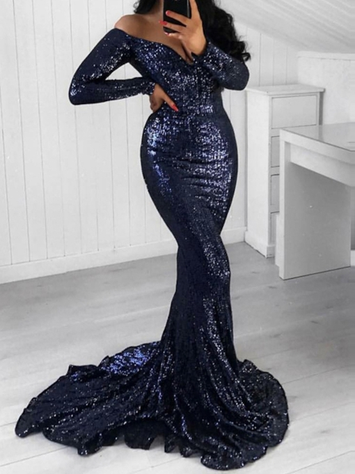 Off-The-Shoulder Trumpet Floor-Length Long Sleeves Evening Dress