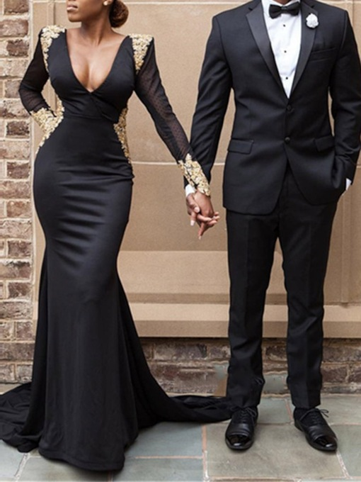 Deep V-Neck Appliques Long Sleeves Evening Dress