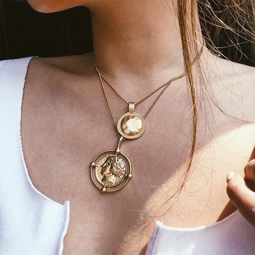Figure Pattern Golden Coin Multi-Layer Necklace