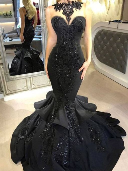 Sequins Appliques Black Mermaid Evening Dress