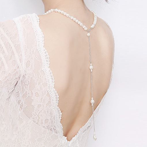 Sparkling Artificial Pearls And Crystal Wedding Prom Body Chain