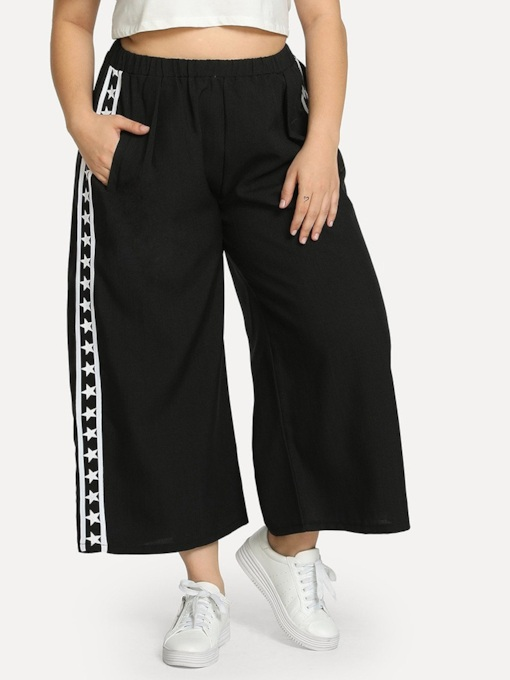 Plus Szie Star Patchwork Loose High-Waist Women's Casual Pants