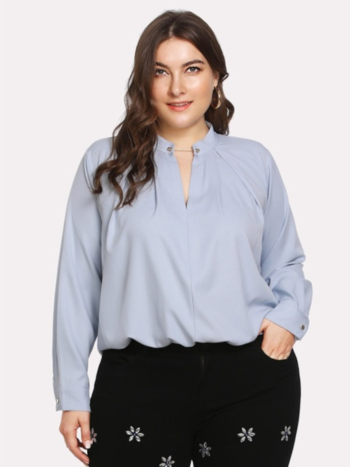Loose Plain Stand Collar Plus Size Women's Blouse
