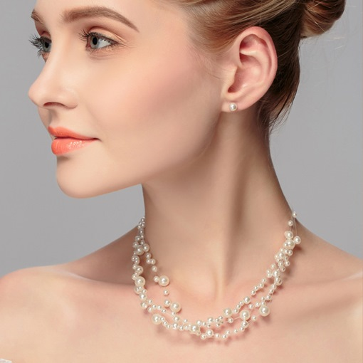 Pearl Beading Earrings Necklace Jewelry Set
