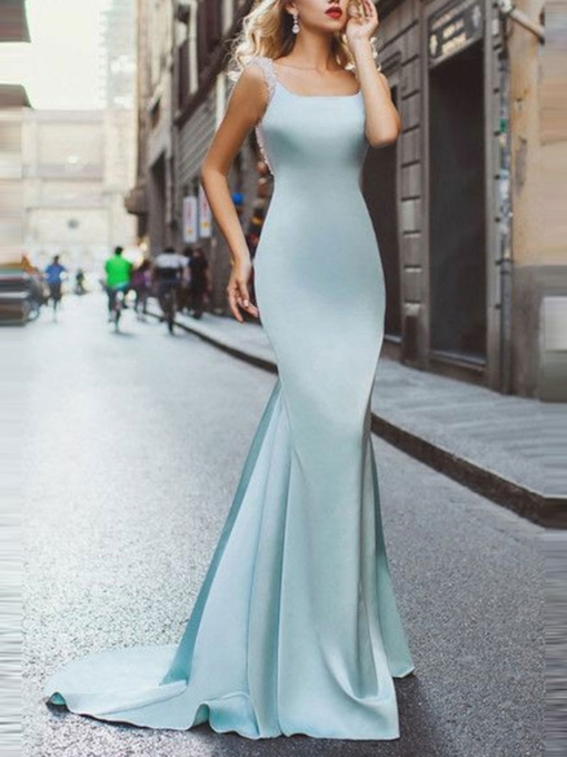 Sleeveless Court Train Beading Trumpet Evening Dress