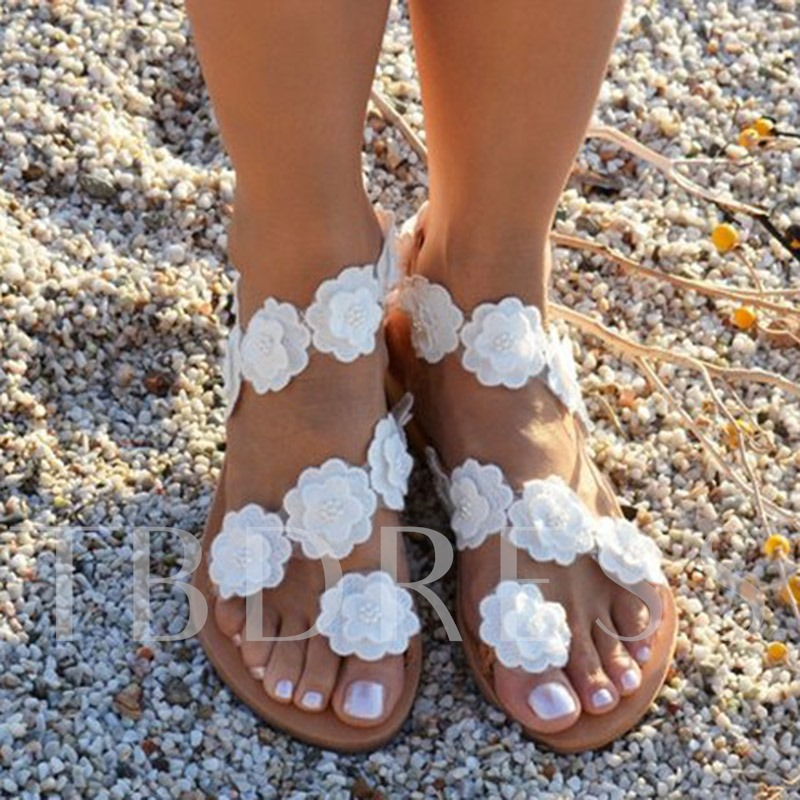 Floral Block Heel Toe Ring Slip-On Ankle Strap Women's Flat Sandals