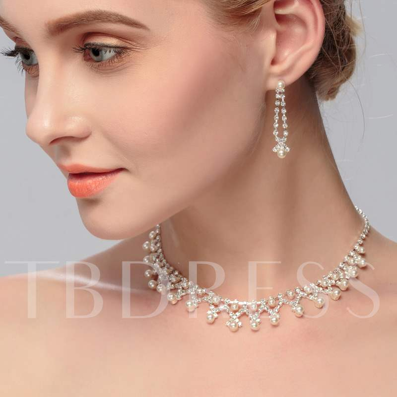 Rhinestone with Pearl Pendant Earrings Necklace Jewelry Set