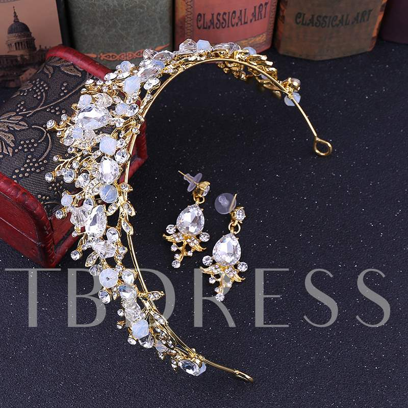 Floral Shape Earrings Headpiece Jewelry Set