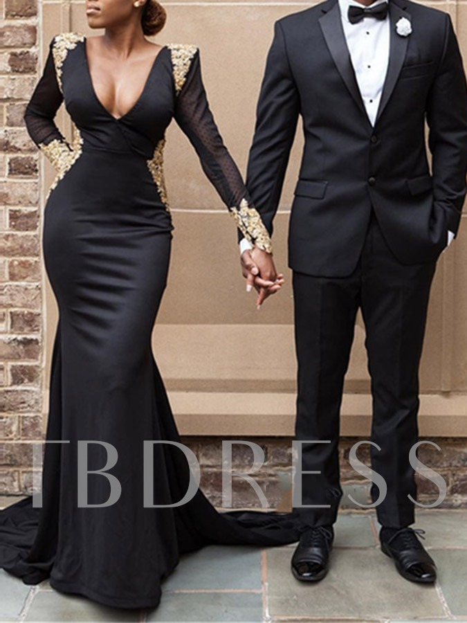 Long Sleeves Floor-Length Trumpet Appliques Formal Dress