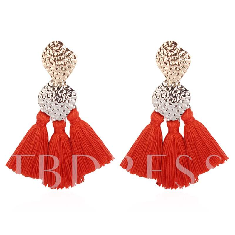Living Coral Color Tassel Bohemian Party Earrings