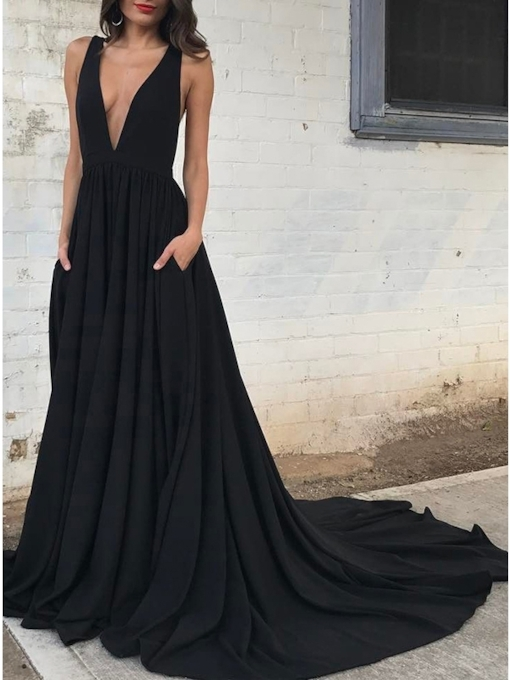 V-Neck A-Line Pleats Floor-Length Evening Dress