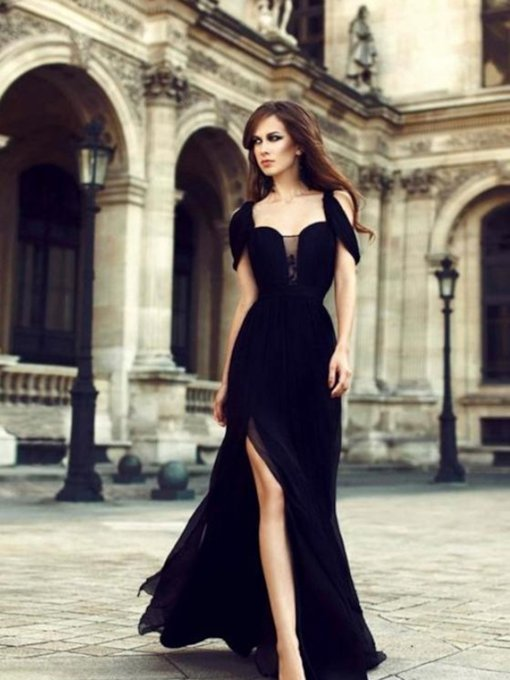 Open Shoulder Split-Front Black Halloween Evening Dress