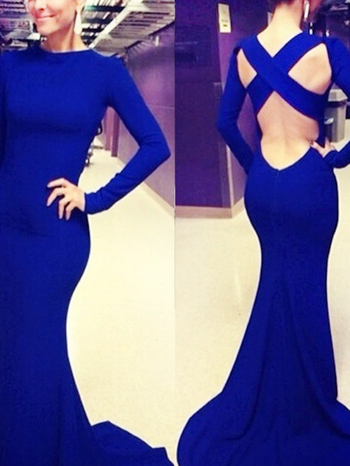 Floor-Length Jewel Trumpet Court Train Evening Dress